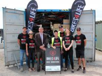 Volunteers Hans Radowitz and Bob Clark with Wingecarribee Shire Mayor Duncan Gair and representatives from Bikes 4 Life