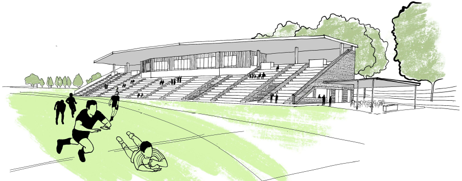 Artists impression of Lackey Park grandstand