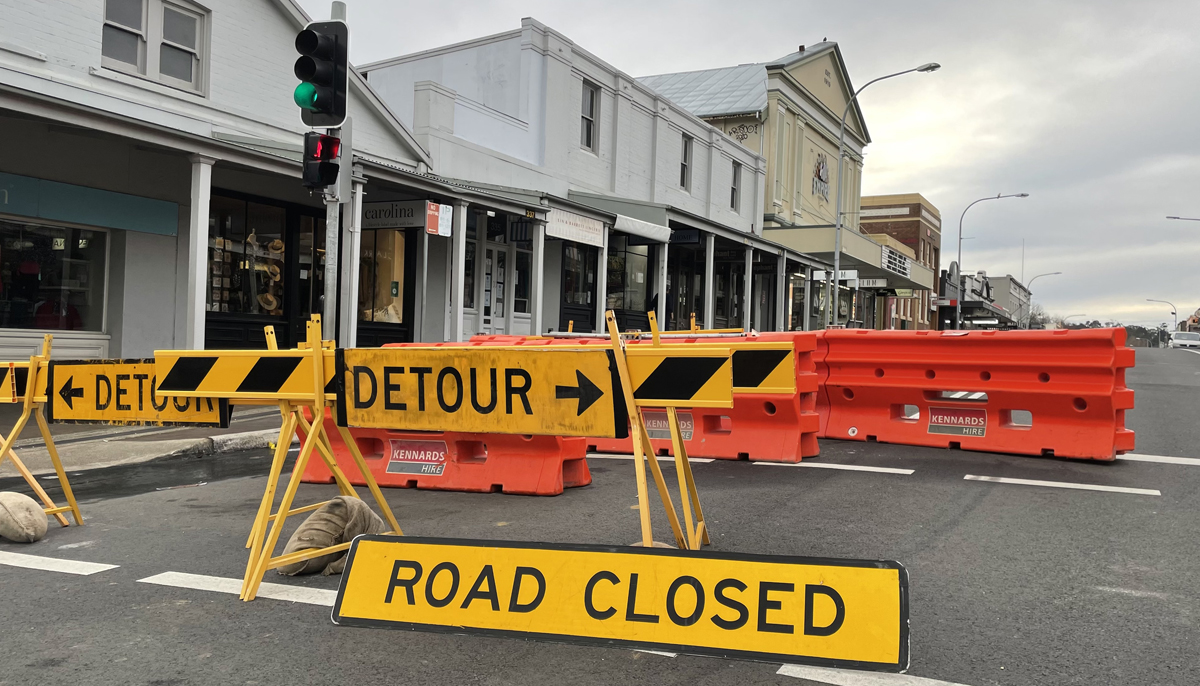 Road closed sign on Bong Bong Street in Bowral