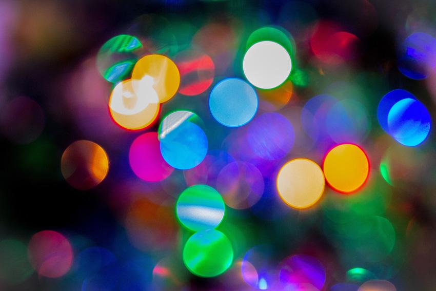Soft focus Christmas lights on tree