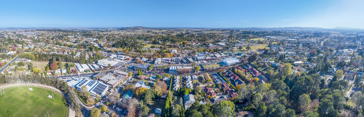 Drone image of Moss Vale Town