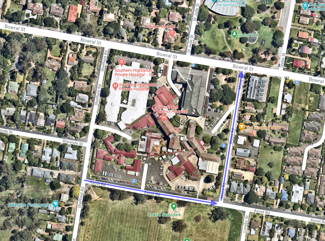 Map of Bowral showing directional traffic changes