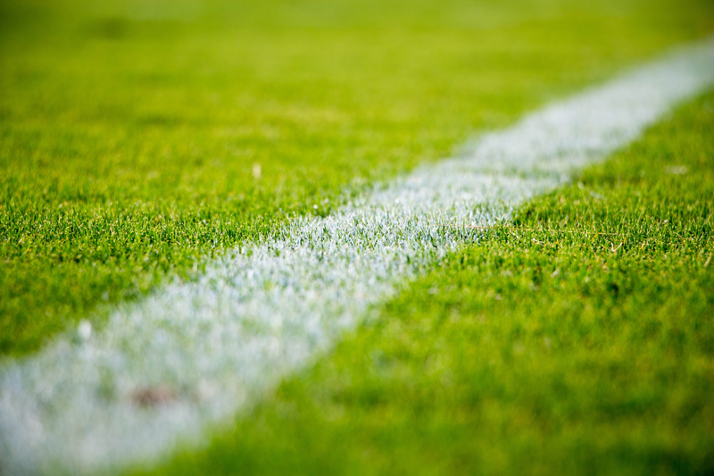 Close up of white line on sporting field