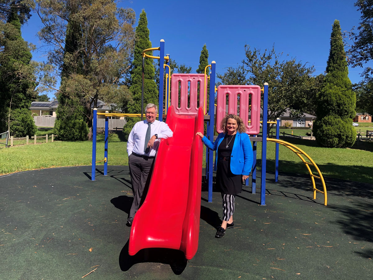 Member for Goulburn Wendy Tuckerman and Council's Acting General Manager at Old Church Road Playground