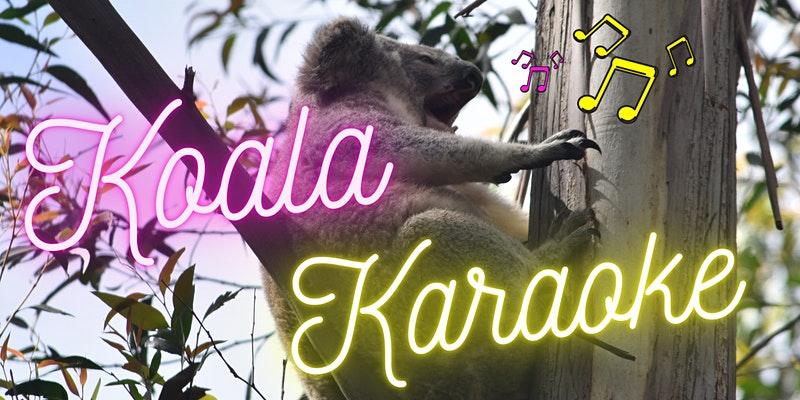 Koala in tree with event branding over top